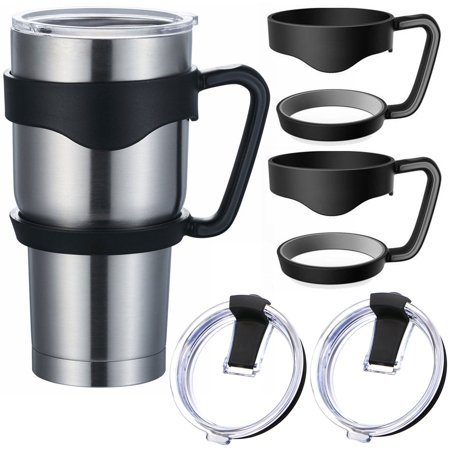 2-Set Tumbler Handle & Spill Proof Splash Resistant Lid for Ozark Trail 30-Ounce, RTIC, SIC, Yeti Rambler and More (Best Spill Proof Travel Mug)