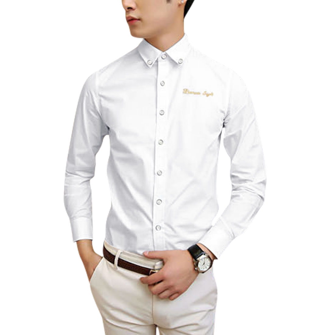 Azzuro Men's Button Cuffs Embroidery Letters Detail Casual Shirt White (Size M / 40��