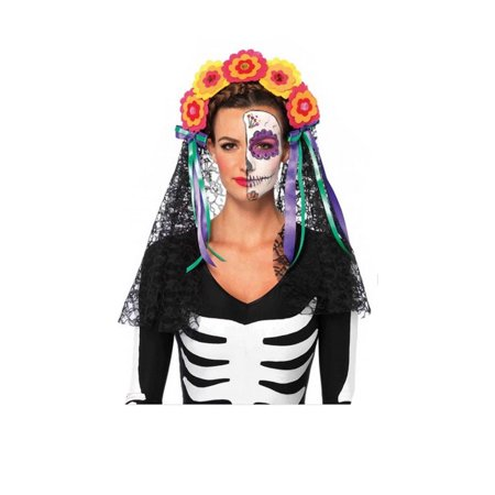 Day Of The Dead Flowered Headband Lace Veil 2726 - Dread Headband