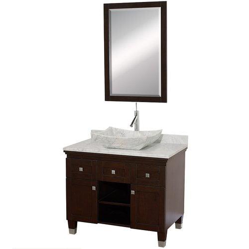 Wyndham Collection Premiere 36 inch Single Bathroom Vanity in Espresso, White Carrera Marble Countertop, Avalon White Carrera Marble Sink, and 24 inch Mirror