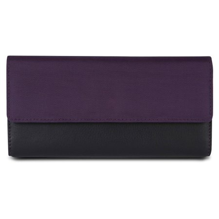SafeID Accent Flap Clutch Wallet, - Accented Front Flap