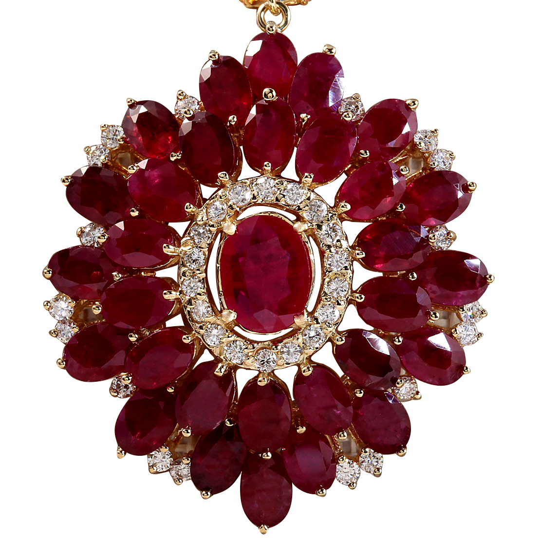 59.00CTW Natural Ruby And Diamond Necklace In 14K Yellow Gold by