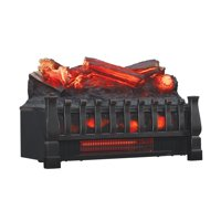 Infrared Quartz Log Set Heater with Realistic Ember Bed and Logs, Black