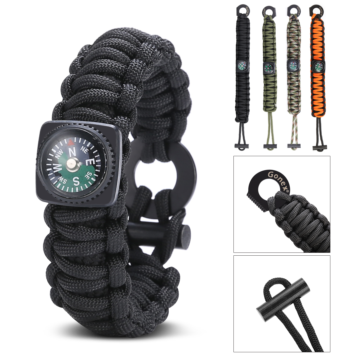 Gonex Paracord 550 Survival Bracelet, Emergency Survival Kit with Compass, Eye Knife, Fire Starter, Fishing Tool for Cam by Gonex
