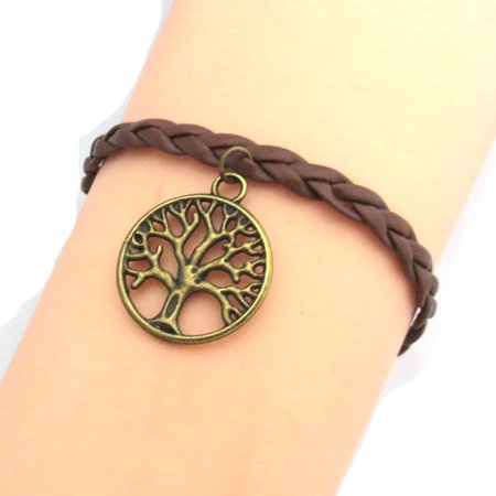 Wishing Tree Braided Bracelet Tree of Life Bronze Leather Woman Girl Jewelry Bracelet - Bronze Womens Bracelets