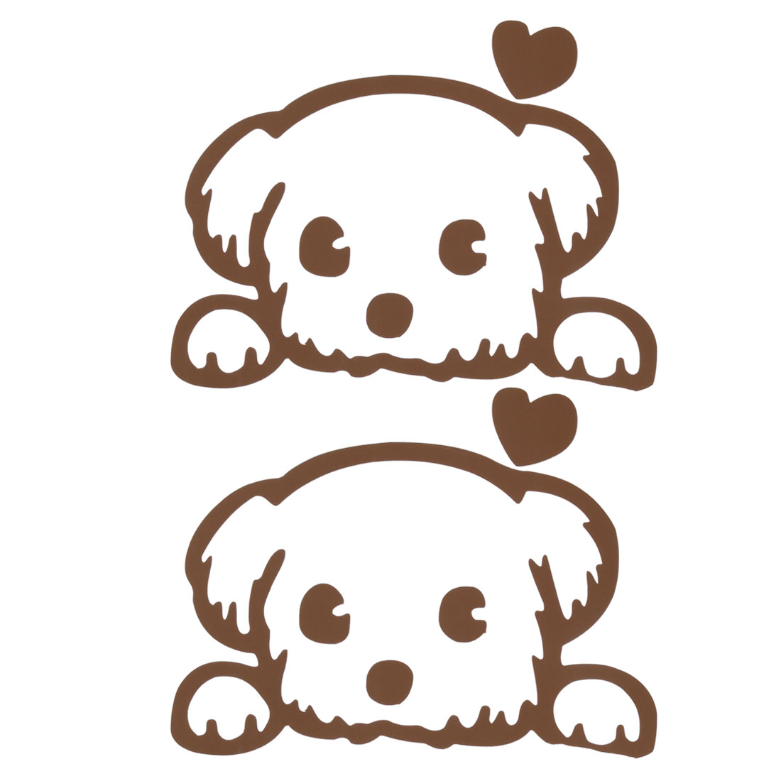 Family PVC Dog Design Self-adhesive Wall Switch Decor Sticker Decal Brown 2pcs