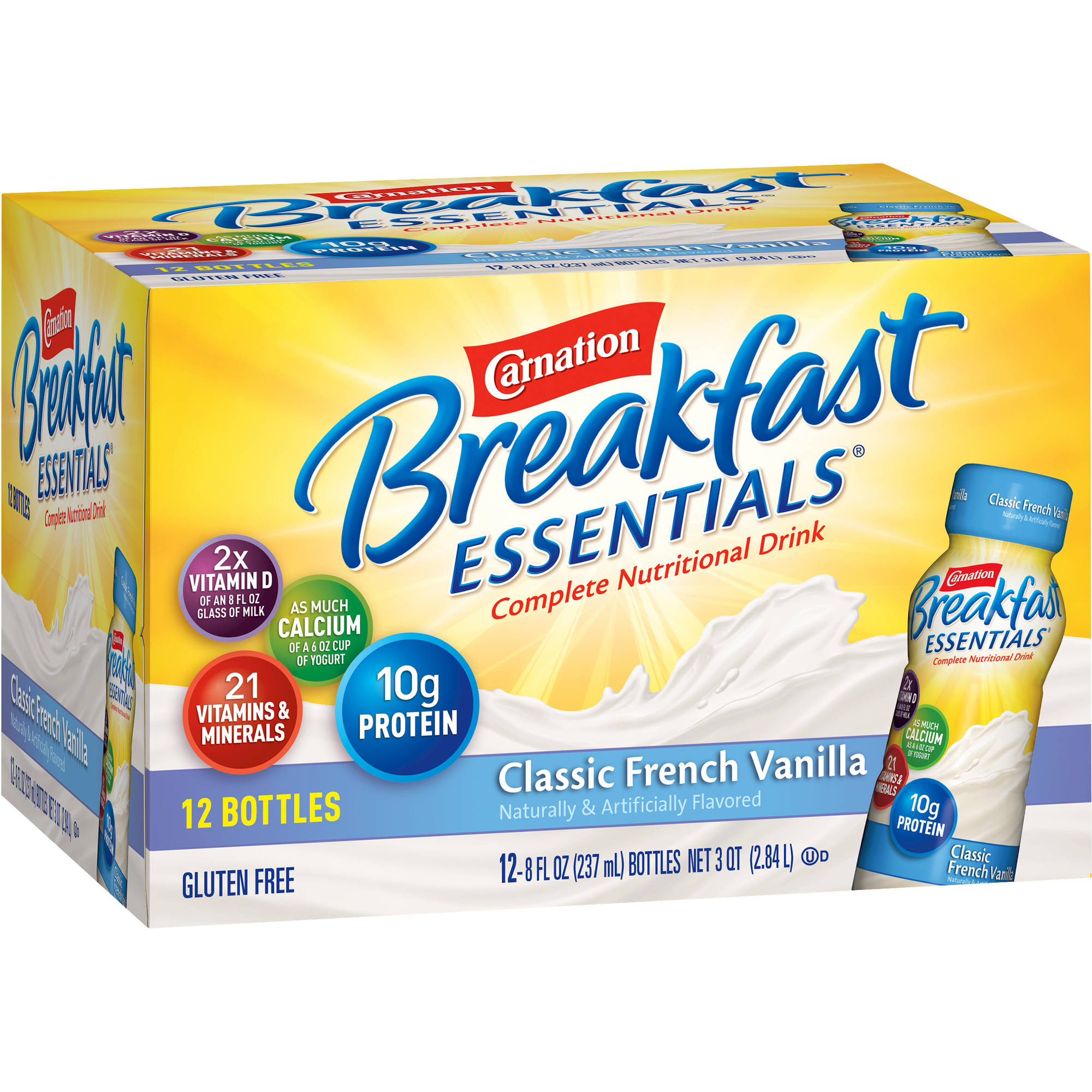 Carnation Breakfast Essentials Classic French Vanilla Complete Nutritional Drink, 8 fl oz, 12 count