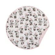 """Disney Minnie Mouse 36"""" Round Quilted Tummy Time Playmat, Pink, Grey, White"""