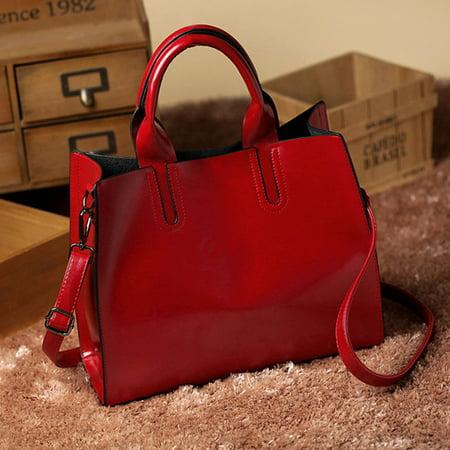 Fashion Women Leather Handbag Messenger Shoulder Bag Satchel Red Ladies Leather Bag Mitt