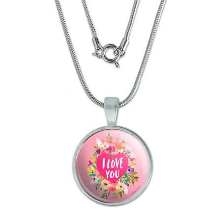 "Image of ""I Love You Flower Heart Wreath 0.75"""" Pendant with Sterling Silver Plated Chain"""