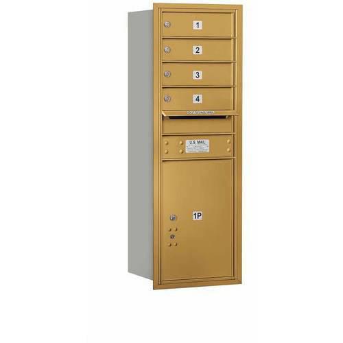 "Salsbury Industries 4C Horizontal Mailbox 11-Door High Unit (41""), Single Column, 4 MB1 Doors, 1 PL5, Aluminum, Rear Load, USPS Access"