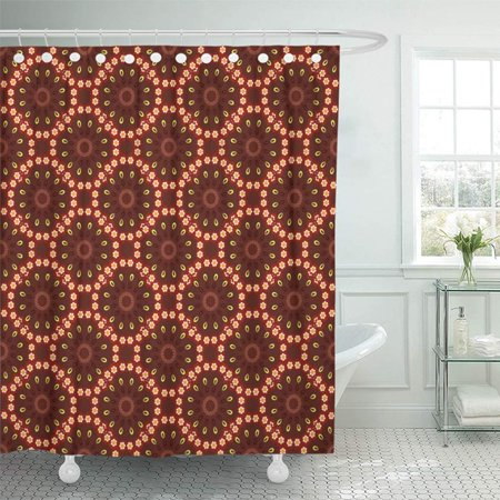 KSADK Colorful Abstract Mandala in Brown Red and White Colors for Birthday and Contrast Shower Curtain 66x72 inch ()