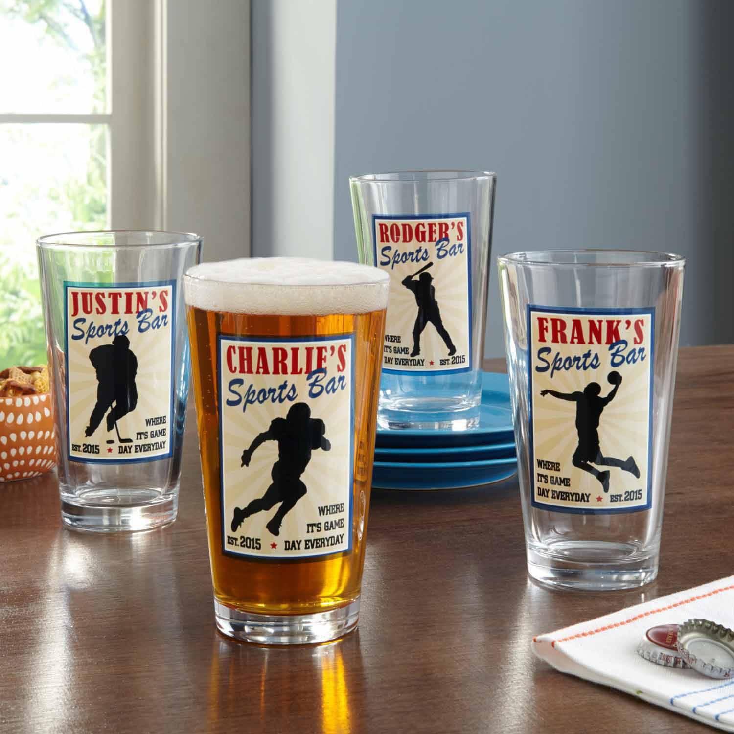 Personalized Sports Bar Pub Glass