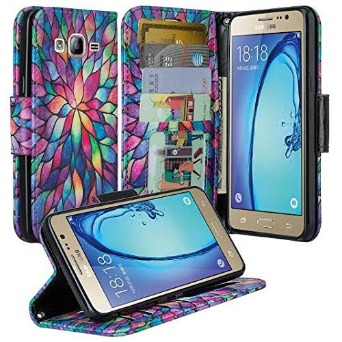 Galaxy J7 Case, Magnetic Flip Folio [Kickstand Feature] Pu Leather Wrist Strap Wallet Case with ID & Card Slots for Samsung Galaxy J7 - Rainbow Flower