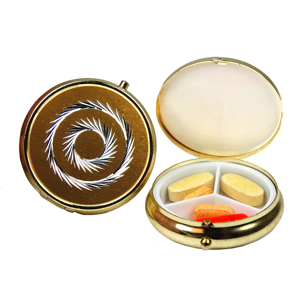 3 Compartment Round Fashion Pill Case (Gold Circle)