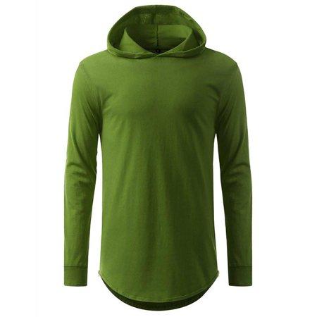 hooded Elongated Basic Drop Tail Long Sleeve (Drop Sleeve T-shirt)