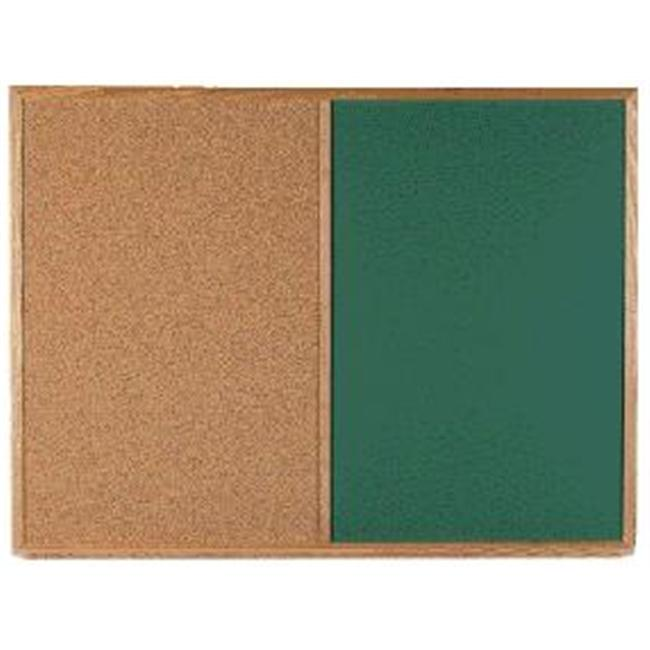 Aarco Products DCO3648G Combination Corkboard-Chalkboard - Green