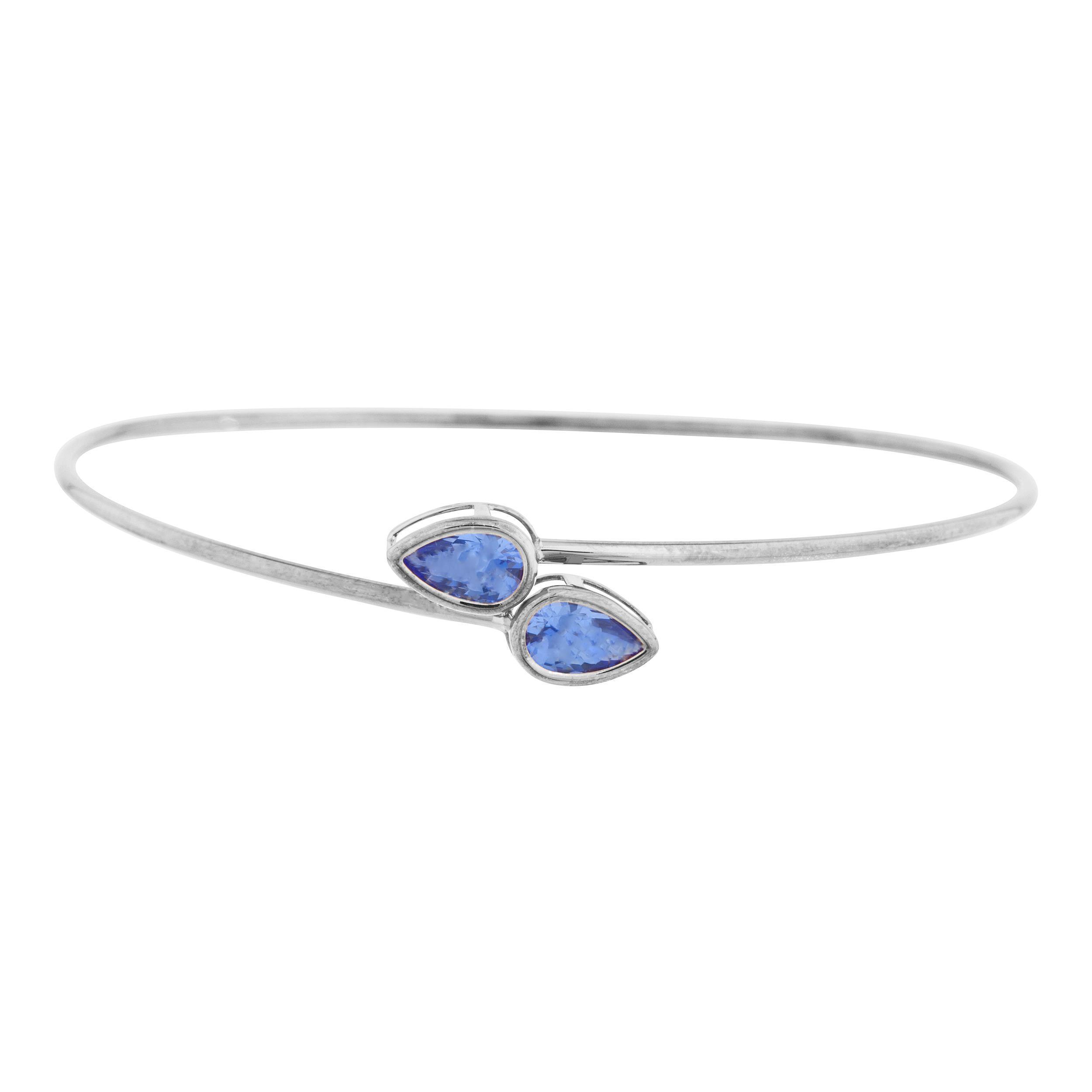 2 Ct Tanzanite Pear Bezel Bangle Bracelet .925 Sterling Silver by Elizabeth Jewelry Inc