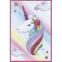 Pictura Shimmering Unicorn Profile in Clouds Bright and Colorful 'Jane' Feminine Birthday Card for Her