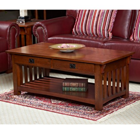 2 Drawer Coffee Table (Leick Home Solid Ash Two Drawer Mission Coffee Table)