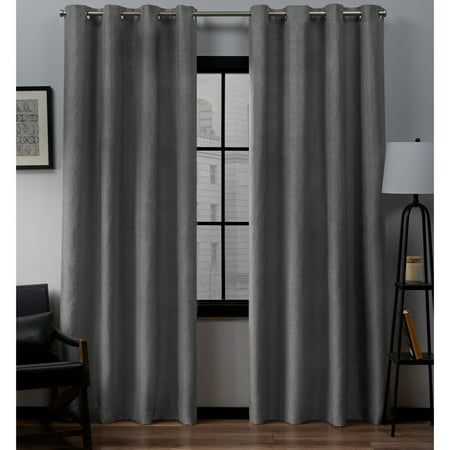 Exclusive Home Curtains 2 Pack Loha Linen Grommet Top Curtain Panels ()
