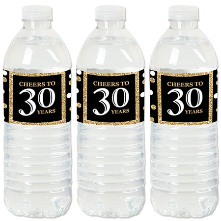 Adult 30th Birthday - Gold - Birthday Party Water Bottle Sticker Labels - Set of 20