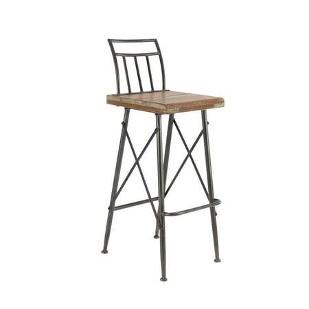 Iron Bar Stools (Decmode Modern Distressed Fir Wood and Iron Square Bar Stool, Brown )