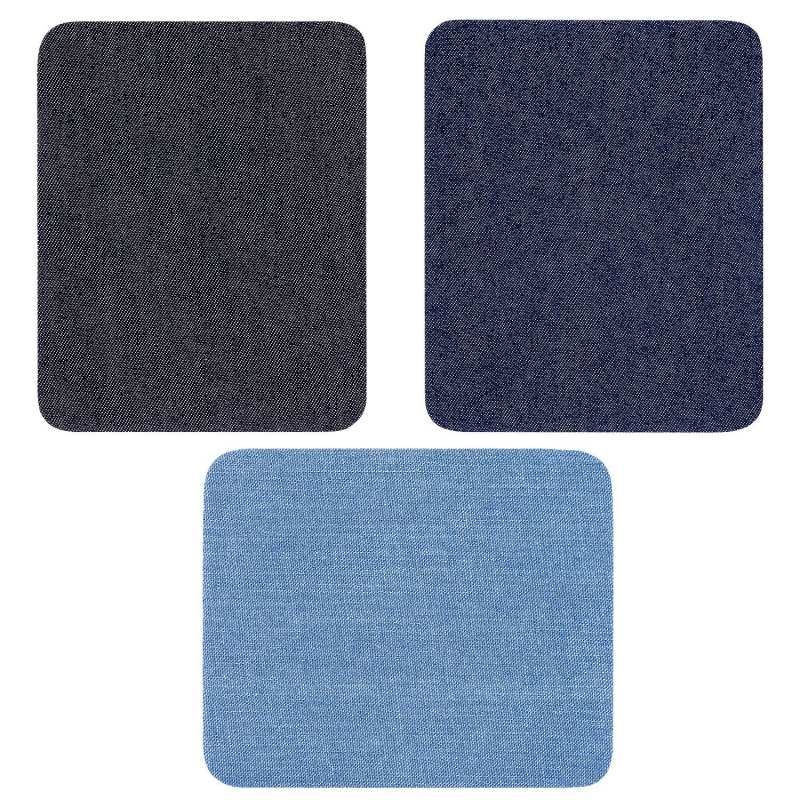 4.9 inch X 3.7 inch 3 Colors Iron On Denim Patches For Clothing Jeans 12 Pcs