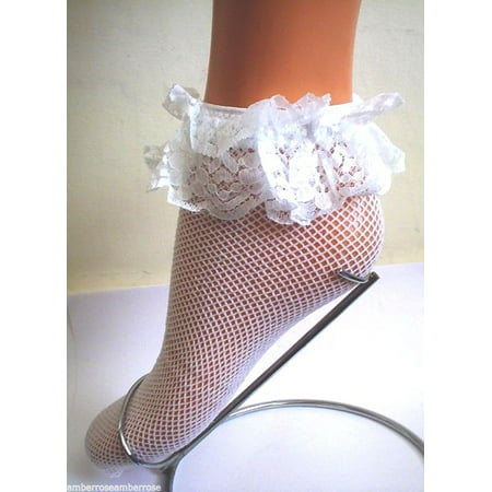 Music Legs Womens Fishnet Ankle Socks With Ruffle Trim White One Size Fits Most