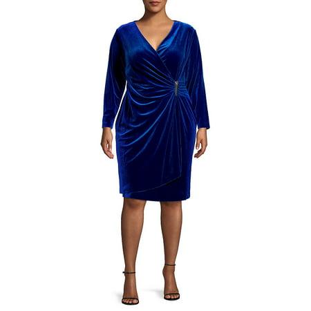 Plus Velvet Faux Wrap Dress