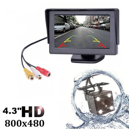 4.3in TFT LCD Car Rear View Backup Monitor Cam CCD Sensor Parking Camcorder LED Night Vision Camera Kit