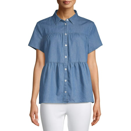 Women's Tiered Button Front Top Classic Button Front Shirt