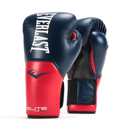 Everlast Elite Pro Style Leather Training Boxing Gloves Size 14 Ounces, Navy/Red - Balloon Boxing Gloves