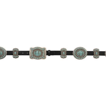Ladies Black Leather (Angel Ranch Western Belt Womens Leather Conchos Black Turquoise)