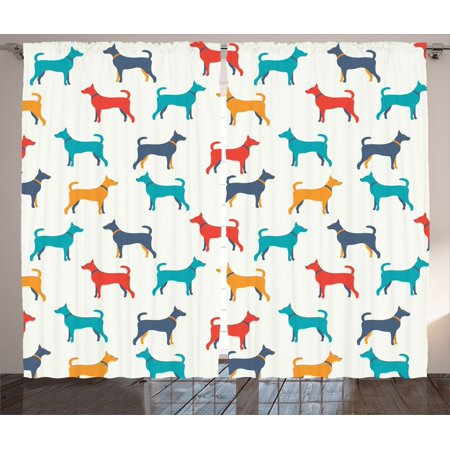 Dog Lover Decor Curtains 2 Panels Set, Contemporary Colorful Illustration Of Dog Figures With Contours In Retro Style, Living Room Bedroom Accessories, By Ambesonne ()