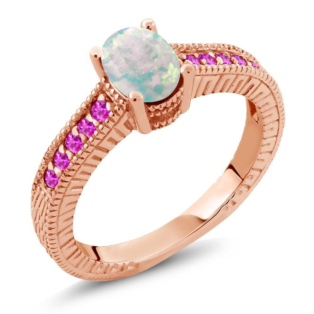 1.13 Ct Oval White Simulated Opal Pink Sapphire 18K Rose Gold Plated Silver Ring by