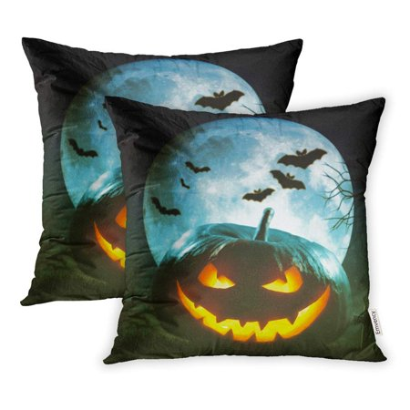ARHOME Autumn Helloween Pumpkin Party Celebration Bat Black Candle Carved Dark Evil Face Pillowcase Cushion Cover 18x18 inch, Set of (Bat Carving)