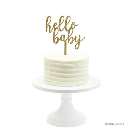 Baby Shower Cake Bags (Hello Baby Baby Gold Glitter Baby Shower Acrylic Cake)