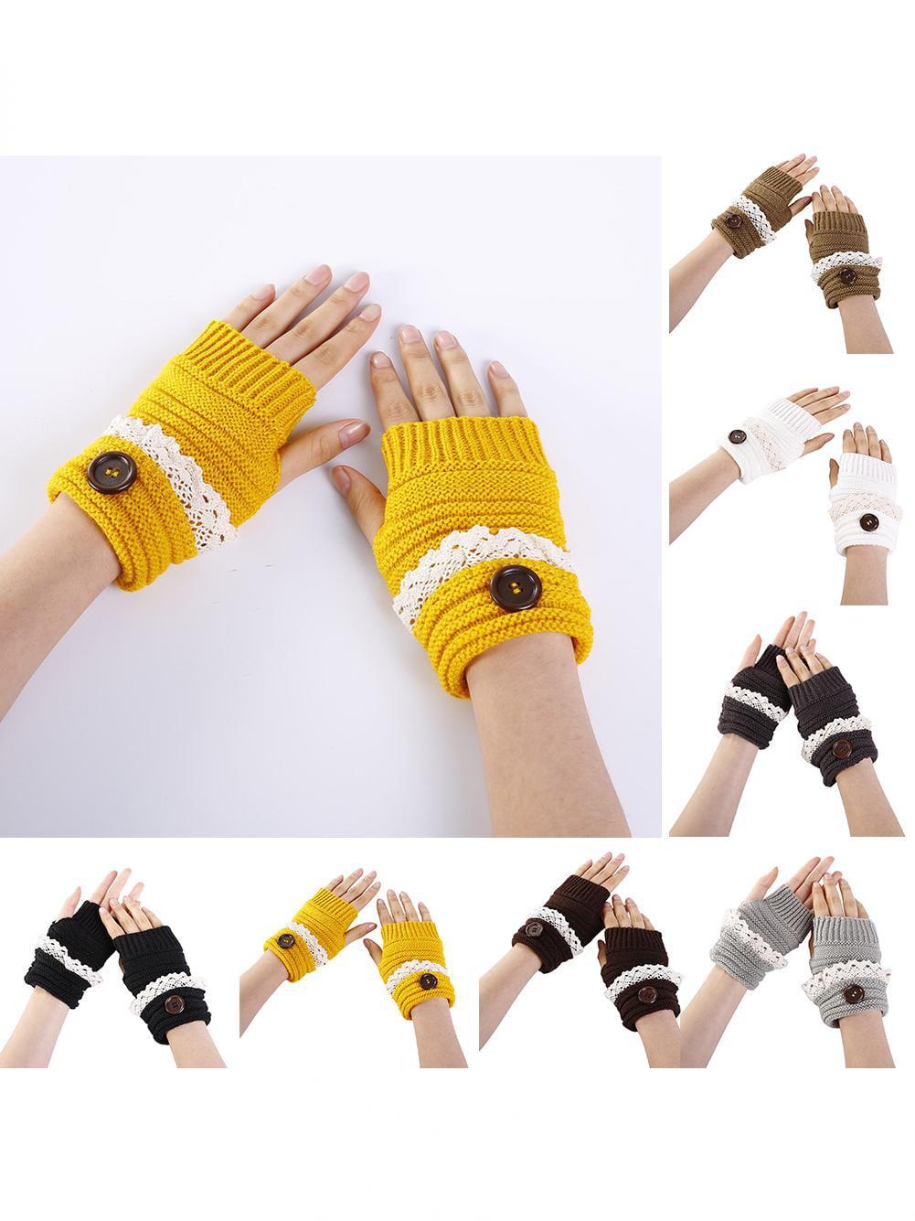 Girl12Queen Winter Accessory Women Lace Trim Fingerless Warm Gloves Button Knitted Mitten