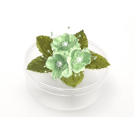3 Clear Round Cookie Nut Candy Boxes w/ Pearl Satin Organza Flower - Turquoise • Container material is Plastic • Clear round cookie nut candy boxes are 4.5