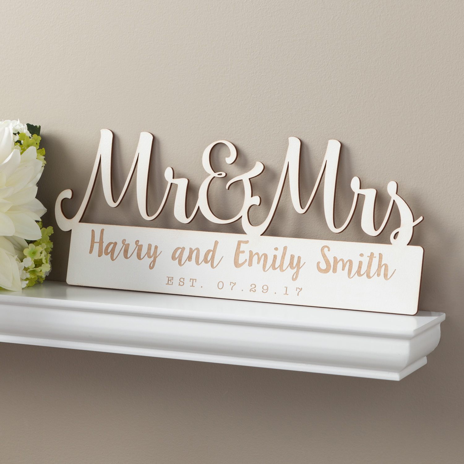Personalized Mr. & Mrs. Antique White Wood Plaque