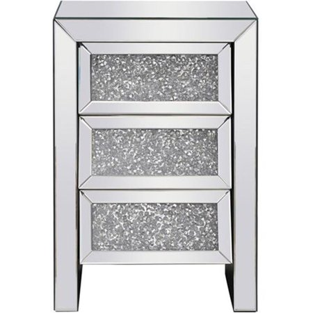 Elegant Lighting MF92014 17.5 in. Modern Royal Cut Crystal Bedside Table, Silver