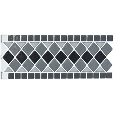 """10 Sheets Peel and Stick Tile Border Waist Line Retro Mosaic Wall Sticker for Kitchen Cabinet Toilet 12.4"""" x 5"""""""