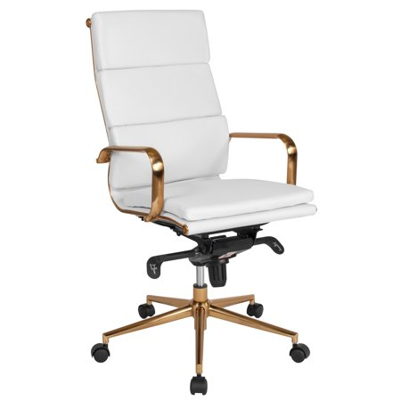 Flash Furniture High Back White LeatherSoft Executive Swivel Office Chair with Gold Frame, Synchro-Tilt Mechanism and Arms High Back Swivel Chair