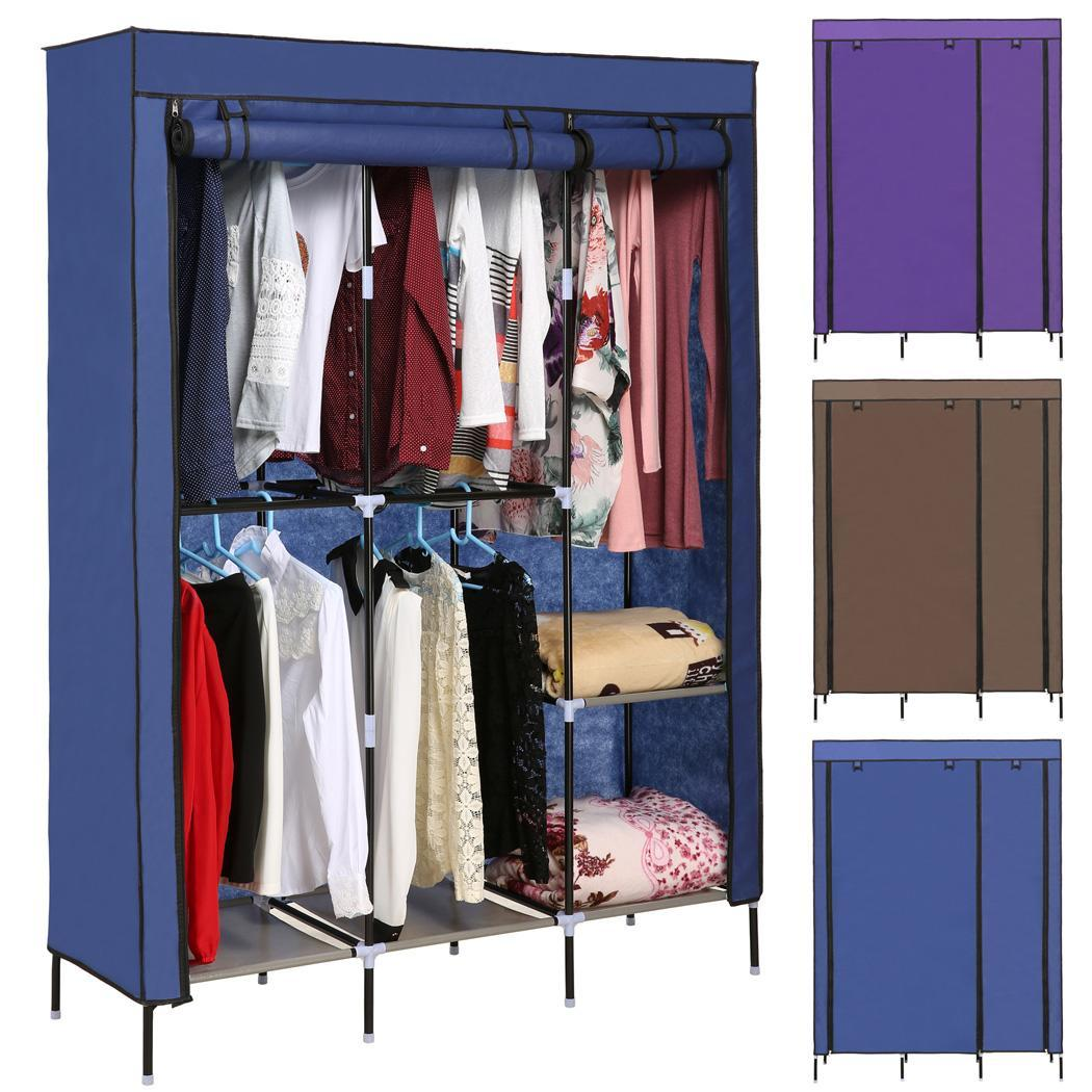 Portable wardrobe closet storage organizerclothes rack with shelves