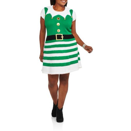 a38fedd095d ONLINE - Holiday Time Women s Plus Christmas Sweater Dress - Best ...