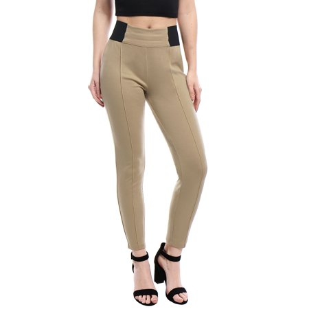 Unique Bargains Women Contrast Color Side Elastic Waist Stretchy Leggings Beige XS - image 6 de 6