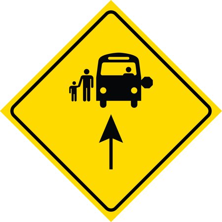 Yellow Diamond Road Notice Bus Stop Ahead Sign Commercial Plastic Square Sign, 12x12 ()