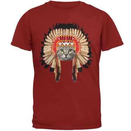 Thanksgiving Funny Cat Native American Cardinal Red Adult T-Shirt - Thanksgiving Crafts For Adults