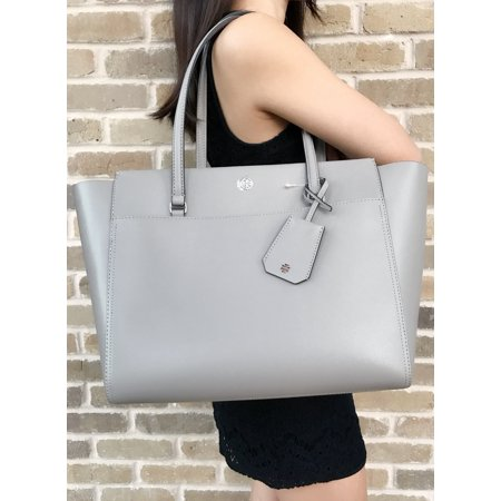 dc4d2540d51 Tory Burch - Tory Burch Parker Large Tote Top Zip Handbag Dusty Storm Gray  Perry Logo Satchel - Walmart.com